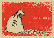 Money bag . Vector graphic image with grunge background Stock Images