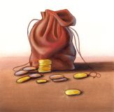 Money bag. Coins and leather pouch over a flat surface. Hand painted illustration, digitally enhanced stock illustration