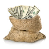Money in the bag. On a white background stock photos