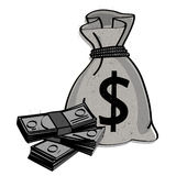 Money bag vector. Illustration of a bag with the dollar symbol and a stack of money, vector isolated on white background Stock Photo