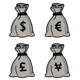 Money bag - vector set Stock Photo