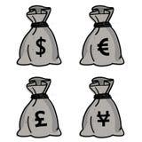 Money bag - vector set royalty free illustration