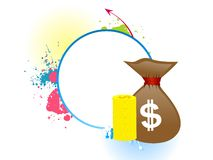 Money bag. On abstract background stock illustration