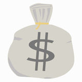 Money bag. A money bag with a rope around the top Royalty Free Stock Photo