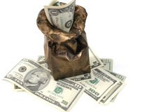 Money Bag. Dollars in a bronze bag Royalty Free Stock Photography