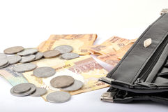Money bag. Indian money coming out of bag Stock Image