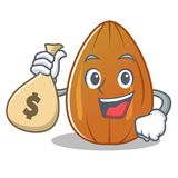 With money bag almond nut character cartoon Stock Photography