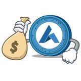 With money bag Ardor coin character cartoon. Vector illustration Stock Photo