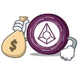 With money bag Augur coin character cartoon. Vector illustration Stock Image