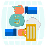 Money bag for beer Royalty Free Stock Photo