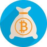 Money bag with bitcoin. Vector Illustration