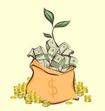Money bag with bunches of dollars, coins stacks beside and money tree sprout, cartoon style, isolated vector illustration Royalty Free Stock Photos
