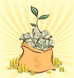 Money bag with bunches of dollars on retro rays background, coins stacks beside, money tree sprout, cartoon style, vector illustra Royalty Free Stock Photo