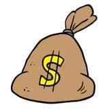 Money bag. Cartoon illustration isolated on white Royalty Free Stock Photo