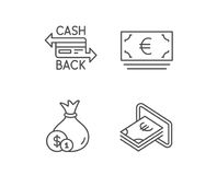 Money bag, Cashback and ATM line icons. Stock Images