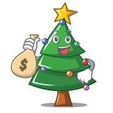With money bag Christmas tree character cartoon. Vector illustration Royalty Free Stock Image