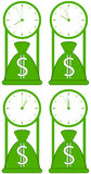 Money bag with clock Royalty Free Stock Images