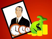 Money bag with coins and clocks Royalty Free Stock Image