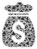 Money Bag Mosaic of Triangles. Money bag collage of triangle items in various sizes and shapes. Vector polygons are organized into money bag collage. Geometric Royalty Free Stock Photography