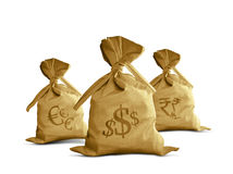 Money Bag currencies. Money bags full with different currencies Stock Photos