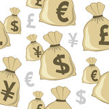 Money Bag Currencies Seamless Pattern Stock Image