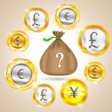 Money bag. Currency - the dollar - the euro - pound sterling - Yen. Vector illustration Royalty Free Stock Image