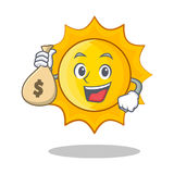 With money bag cute sun character cartoon. Vector illustration Stock Photography