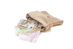 Money bag with different euro bills Royalty Free Stock Image
