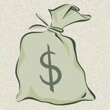 Money bag with dollar sign, cartoon style, isolated vector illustration Stock Images