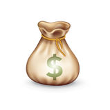 Money bag with dollar sign isolated Royalty Free Stock Photos