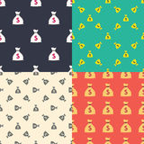 Money bag with dollar sign seamless patterns set. Wealth and richness concept. Vector Royalty Free Stock Photos