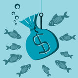 Money bag with dollar symbol on a hook underwater. Bait for fish. Investments, poderia of money, financial losses stock illustration