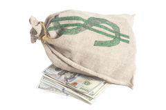 Money bag with dollar symbol. Isolated on white Royalty Free Stock Photography