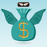 Money bag with dollar symbol with wings. Stock Photo