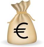 Money bag with dollars. Money bag with euro. Vector Stock Photos