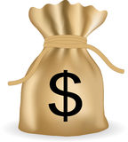 Money bag with dollars. Vector Stock Images