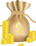 Money bag with dollars. Money bag with coins dollars. Vector Royalty Free Stock Photos