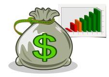 Money bag with dollars. Illustration Stock Image
