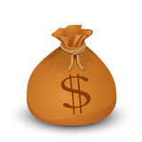 Money bag with dollars. Royalty Free Stock Photo