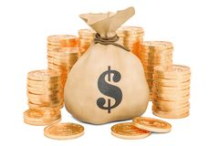 Money bag with dollars and golden coins around, 3D rendering. Isolated on white background Stock Photography