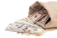 Money bag with dollars. Isolated Stock Image