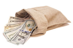 Money bag with dollars Royalty Free Stock Image