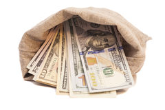 Money bag with dollars Royalty Free Stock Photos