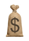 Money bag with dollars. Royalty Free Stock Images