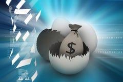 Money bag in egg shell. 3d illustration of Money bag in egg shell Royalty Free Stock Images