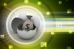 Money bag in egg shell. 3d illustration of Money bag in egg shell Stock Images