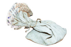Money bag with euro banknotes and coins Royalty Free Stock Images