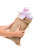 Money bag with euro bills Royalty Free Stock Photography