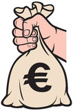Money bag with euro sign Stock Images