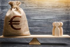 Money bag with a euro sign and people on the scales. evaluation of the cost of the work of specialists and workers. concept. Of attracting investment, business stock image
